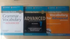 CAE Cambridge Advance Exam with CD's and audios . 3 preparation books x £30.Gramar,Vocabulary,Papers