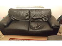 Leather sofa and Ikea Beddinge Lovas sofa bed Free for collection
