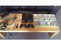 Xbox 360 console, controllers, headset, various games inc FIFA 17