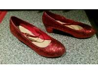 Lovely girls size 3 red glitter healed party shoes