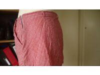 Red and white gingham mini skirt