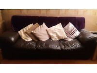 DFS 2 x dark brown leather sofas, armchair and pouffe for sale - buyer collects