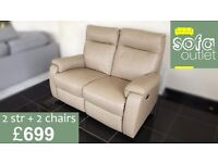 Designer cream leather 2 seater + 2 chairs (150) £699