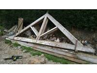 Old wooden A-Frame. Roof truss