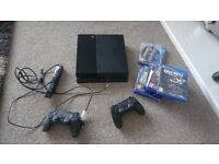 PS4 console ,2 pads, and 1 camera and games