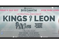 I have 2 premium view tickets to kings of Leon at Hyde Park this Thursday 6th July.