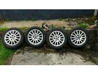 Saab/Vauxhall 16 inch alloys very good tyres