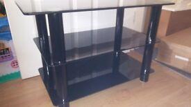 Black tempered glass TV unit