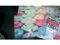 2 LARGE cupcake designed glass placing mats or chopping board