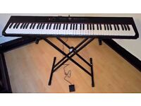 88 Key Digital Stage Electric Piano Music Keyboard with Stand, Power Adaptor and Sustain Pedal