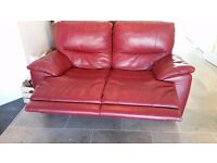 Lee Longlands red leather reclining sofas 2 + 3 seater