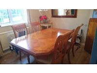 Beautiful large dining table and four matching chairs
