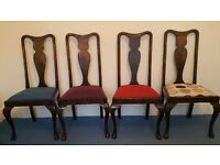 4 vintage Queen Anne style wooden dining room chairs with reupholstered seats