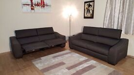 Elixir brown/grey fabric 3 seater sofa bed and electric recliner 3 seater sofa