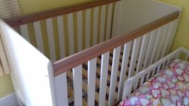 Cot bed with mattress with wooden frame