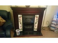 Ornate Tiled Fireplace with Electric Fire ~ Full working order