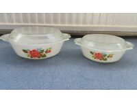 2 Casserole Dish or Bowls, See through Lids, Good condition, Contact me soon as, Cheap BOTH for £5