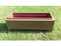 Handmade solid chunky wooden decking planter,stained in oak,with insert