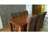 Solid oak dinning table and 6 chair mirror