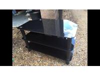 Black glass tv unit table cabinet stand