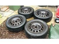 """VW Audi Skoda 16"""" steel wheels and tyres 5x112"""