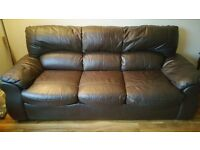 Brown Leather Sofa 3 seater