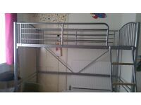 Metal High sleeper bed frame, bunk- silver, kids bed, single bed