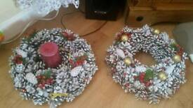 Handmade Christmas wreaths with cones.