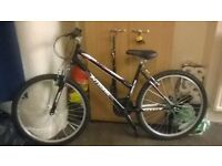 18 gear ladies mountain bike. only used once so brand new condition. brand is integra skyline