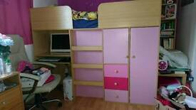 Girls bed unit wit 3 month old mattress