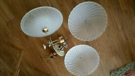 3 ceiling frosted glass light fittings