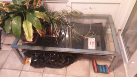 Glass top metal frame coffee table
