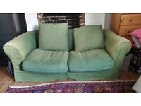 FREE COMFY GREEN SOFA BED UP FOR GRABS - £0!!- pick up only
