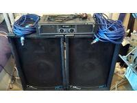 2x Large Speaker (300w per speaker) & Ekho RX600 Power Amplifier 600W WITH LEADS