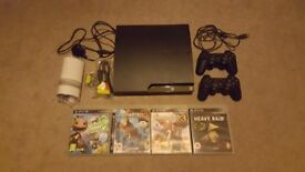PlayStation PS3 320GB Slim Console - Boxed - 2 Controllers + 4 Games