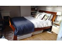 Solid wood king size sleigh bed for sale