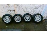 4x Lenso BSX 15 Alloy wheels and tyres 5x120mm