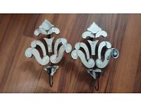 2 mirrored wall candlestick holders