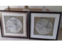 2 Beautiful, Matching large framed pictures depicting World Maps. In perfect condition..