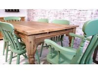 Extending 5-8 FT Large Rustic Kitchen Dining Table Set with Turned Legs & Painted Chairs