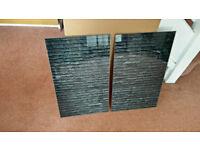 Set of 2 Glass Chopping Cutting Board Induction Ceramic Hob Cover Worktop Saver GREY BRICKS