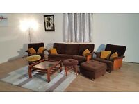 G Plan Retro style Mid Century/1970s/ brown fabric 7 piece suite sofa,chairs,table,footstools