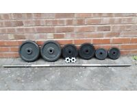 CAST IRON WEIGHTS SET WITH LONG BARBELL