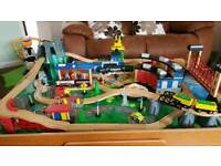 Wooden train set and play table