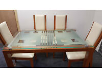Cherry / Glass Dining Table with 4 Wood & Leather Chairs