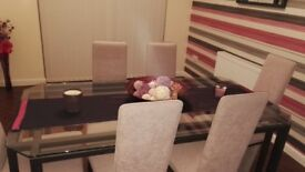 Dining room set, table and chairs, coffee table, lamp table and mirror