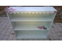 Unique shabby chic upcycled bookcase in duck egg blue