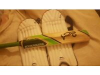 Youths Slazenger Cricket Leg Guards and Kookaburra Cricket Bat size 4 Bundle Preowned