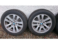 bmw 16 inch E90 alloys with winter tyres and spare almost new summer ones