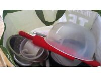 Miscellaneous kitchenware & new single fitted sheet